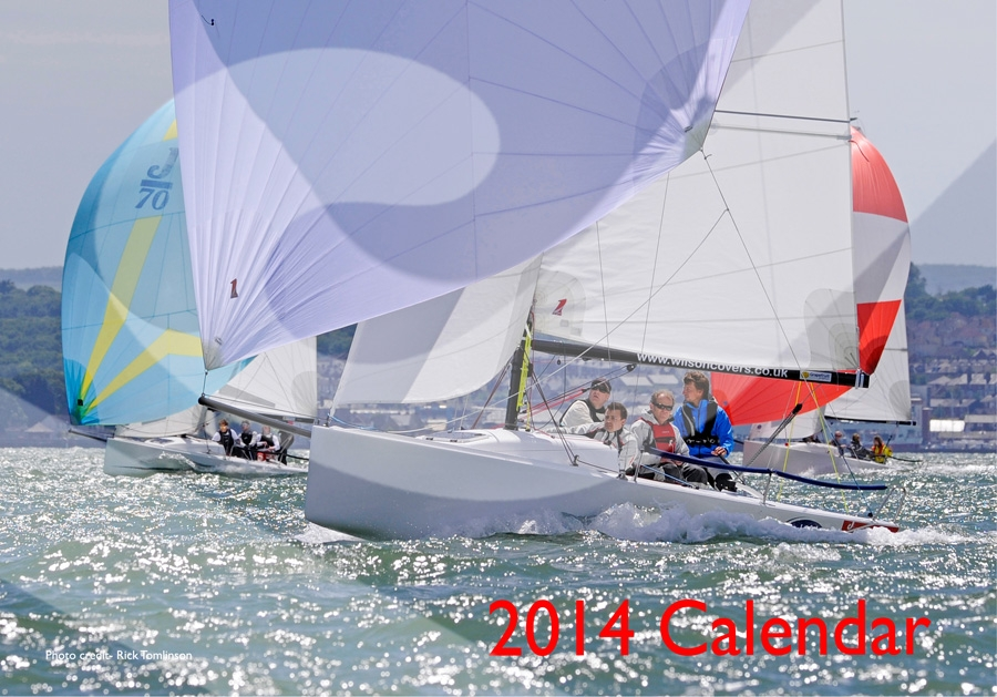 J/70s sailing off Cowes- UK Nationals 2013- by Rick Tomlinson